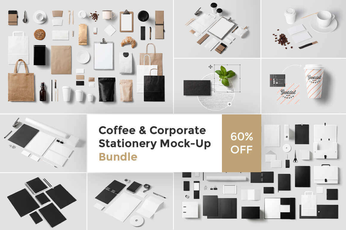 Coffee and Corporate Stationery Mock-Up Bundle – only $24!