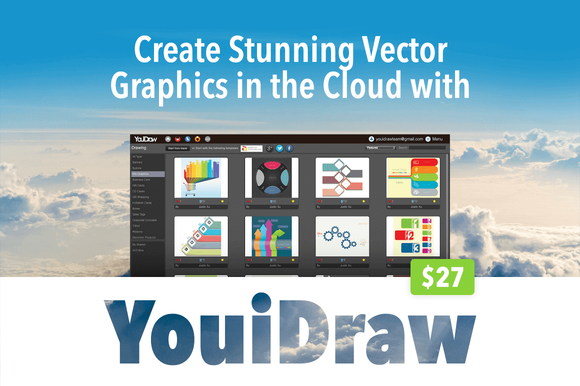 Create Stunning Vector Graphics in the Cloud with YouiDraw – only $27!