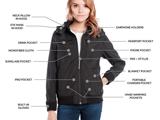 BauBax: The World's Best Travel Bomber Jacket for Women (Black) for $139
