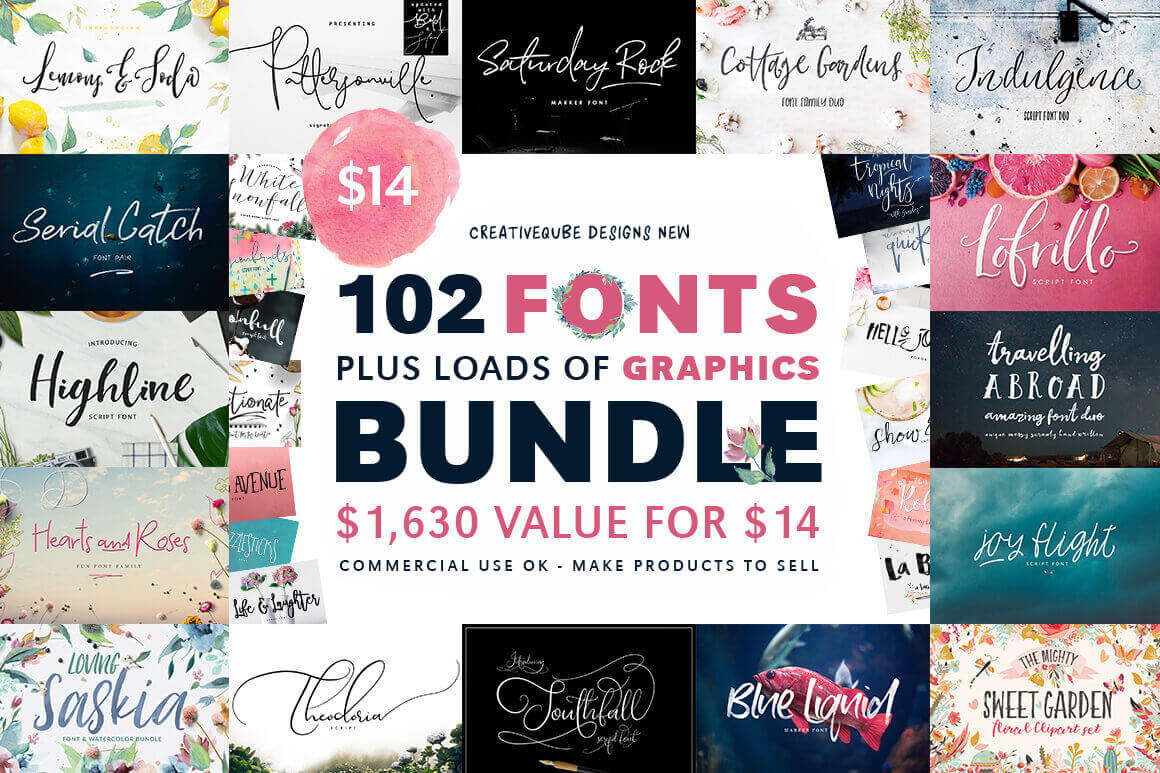 100+ Fonts and 1500+ Professional Graphics – only $14!