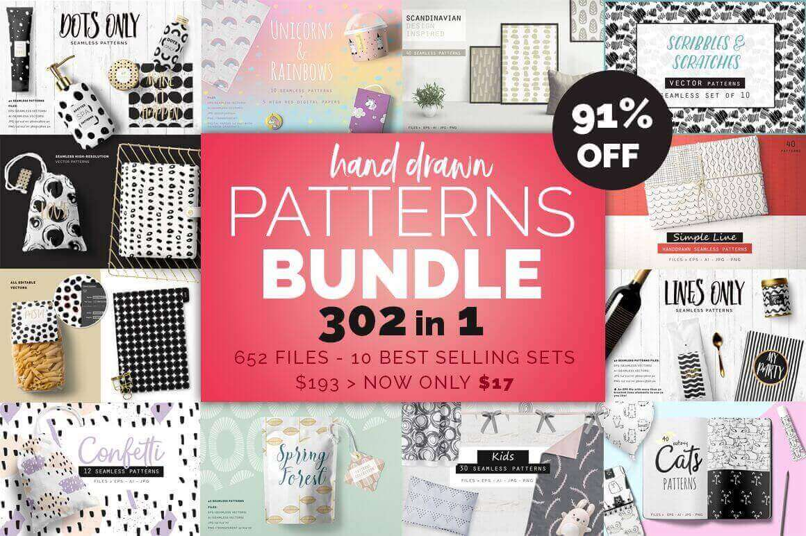 300+ Beautiful Hand-Drawn Pattern Vectors - only $17!
