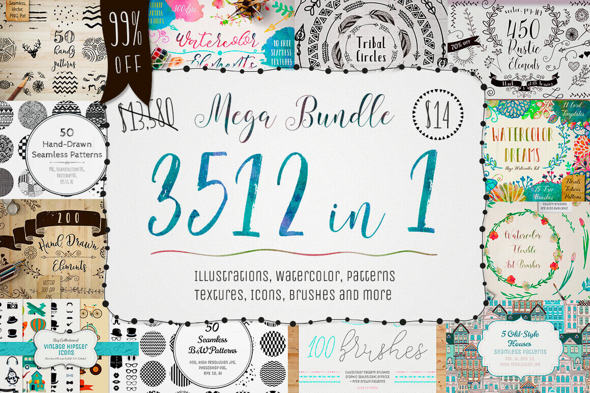 3500+ Textures, Brushes, Icons, Watercolors & More Graphic Elements – only $14!