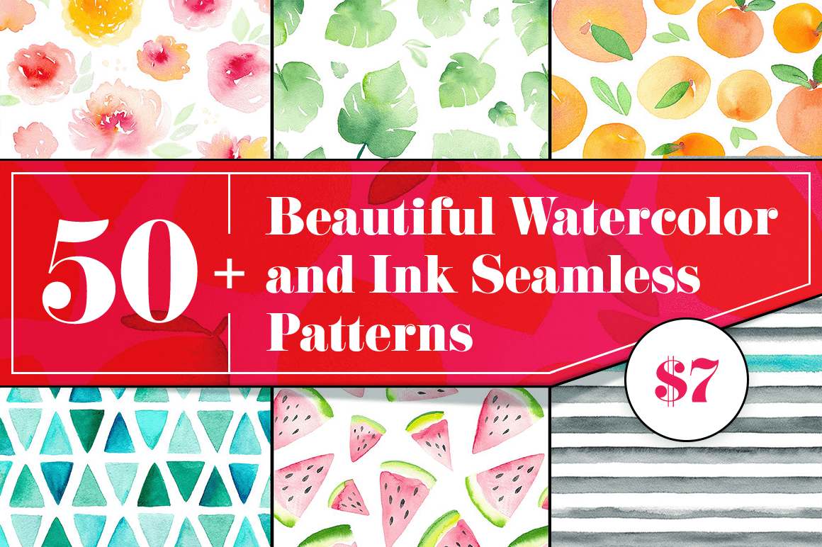 50+ Beautiful Watercolor and Ink Seamless Patterns – only $7!