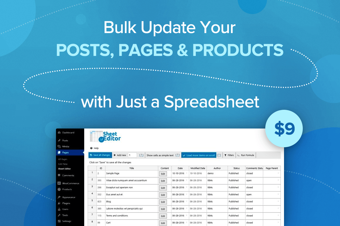 Bulk Update Your Posts, Pages and Products with Just a Spreadsheet – only $9!