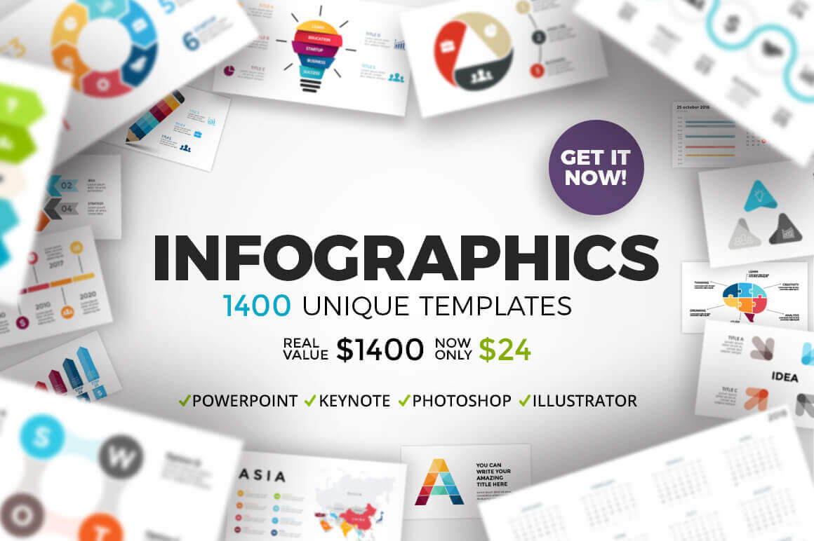 Bundle of 1400 Fully Customizable Infographic Templates  – only $24!