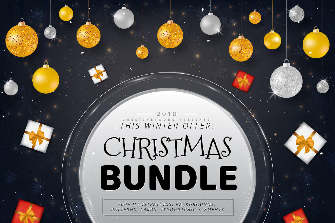 Christmas Bundle of 200+ Design Elements – only $10!