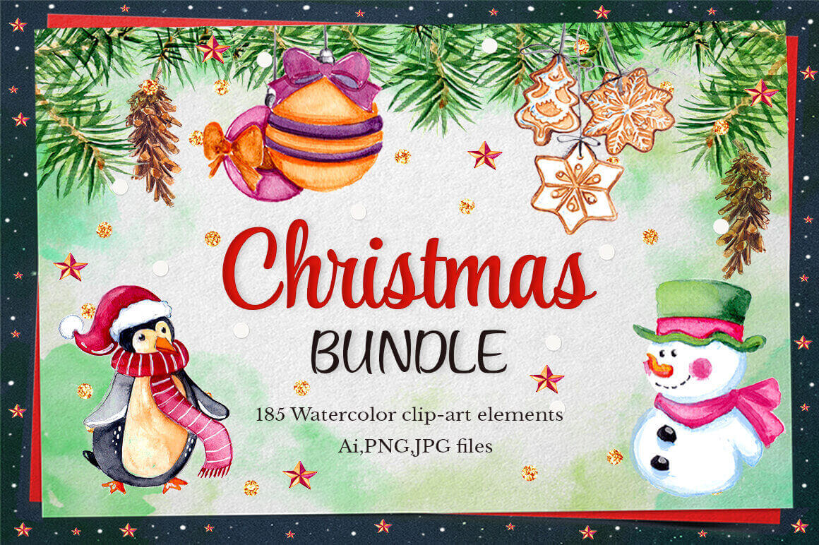 Watercolor Christmas Collection: 185 Elements + Bonus 47 Illustrations – only $18!