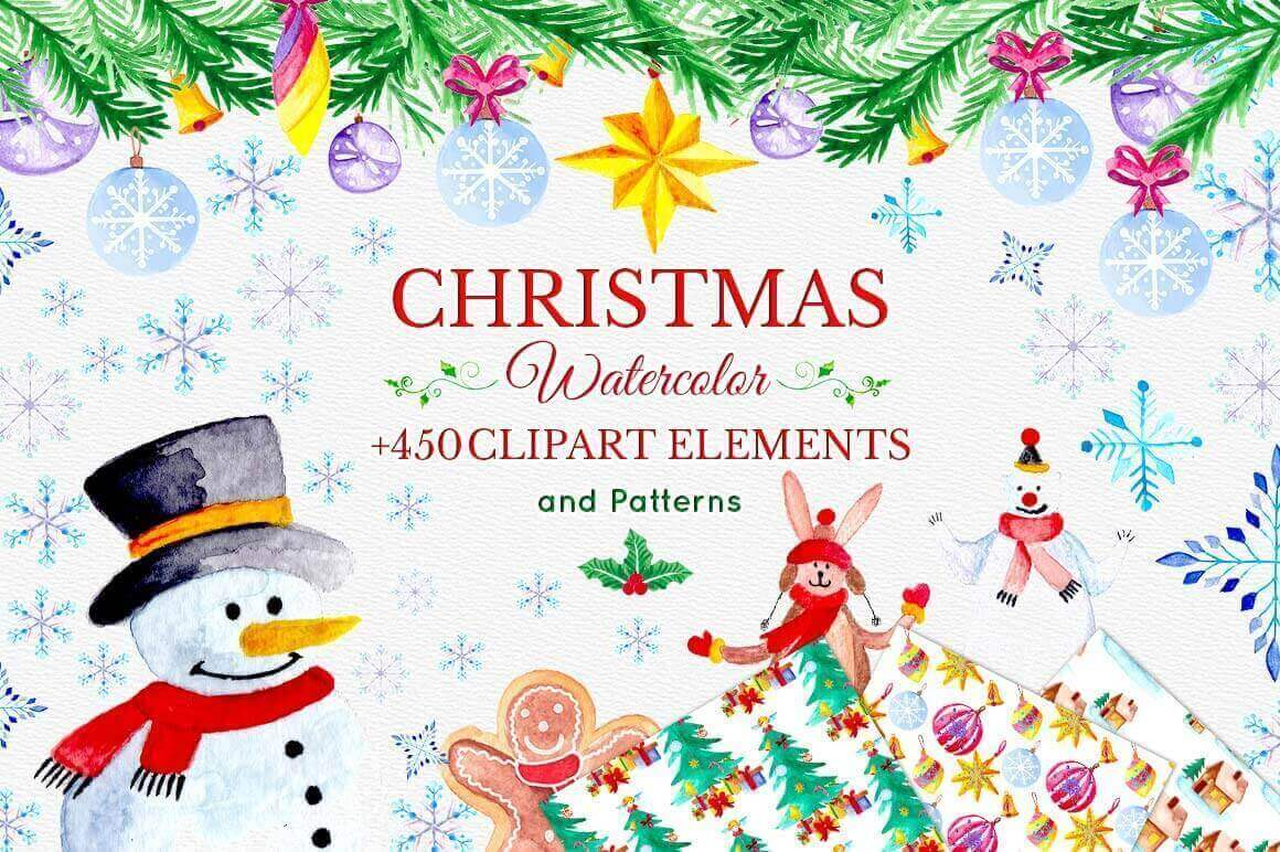 Watercolor Christmas Designer's Toolkit of 450 Elements – only $15!
