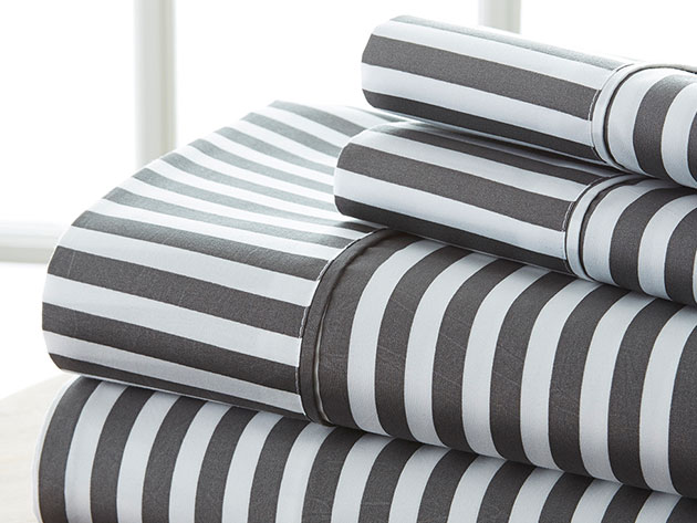 4-Piece Striped Sheet Set for $42