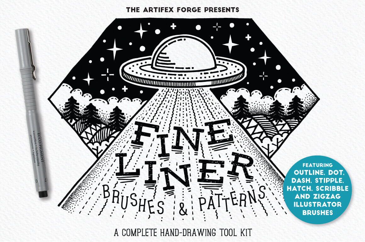 20+ Fineliner Brushes & Patterns from The Artifex Forge – only $8!