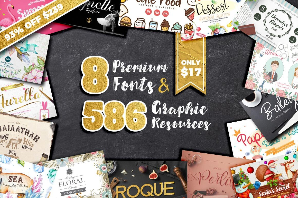 Designer's Dream: 8 Premium Fonts & 575+ Fabulous Graphic Resources – only $17!