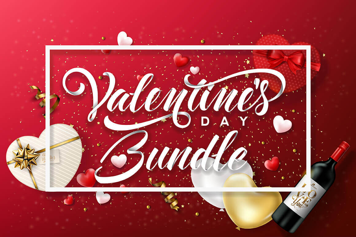 Feel the Love: Valentine's Day Bundle of 100+ Vectors – only $9!