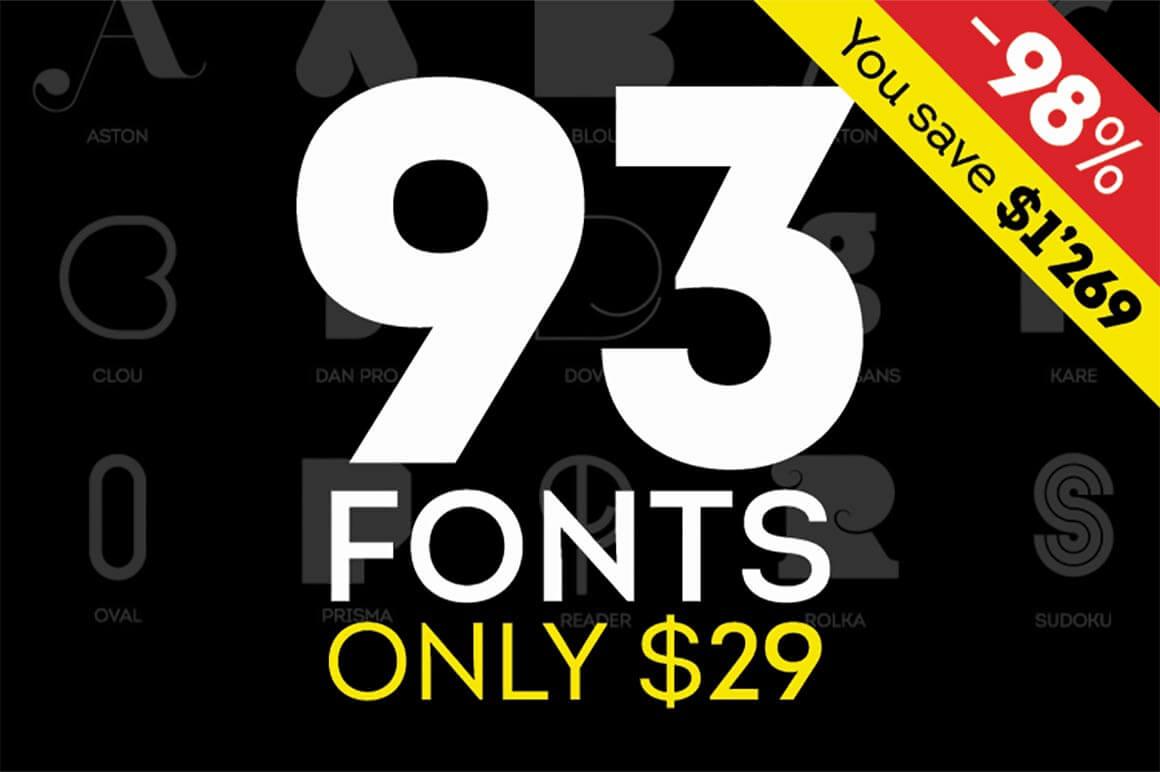 Fontfabric Font Bundle of 90+ Fonts - only $29!