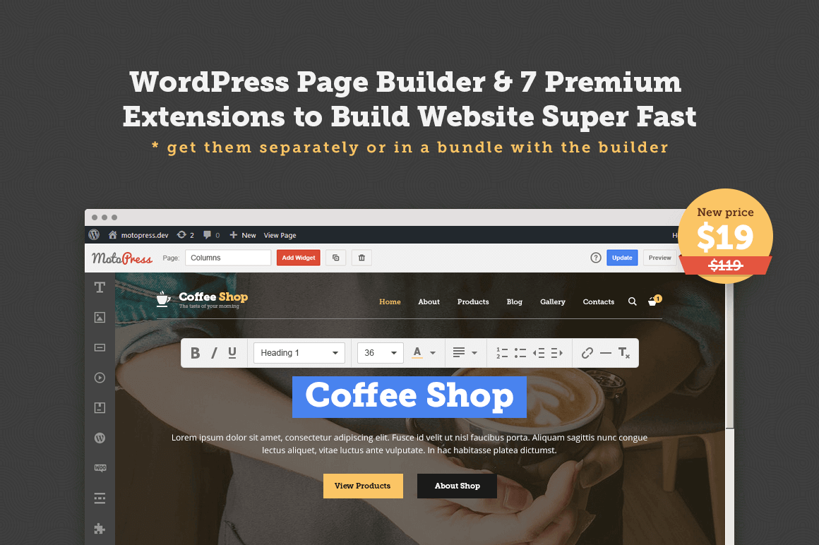 MOTOPRESS: WordPress Page Builder with Premium Extensions – 84% off!