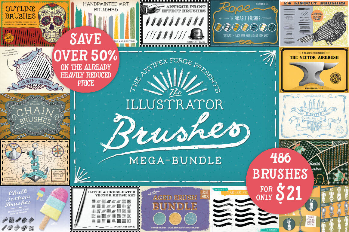 Mega Bundle of Illustrator Brushes from Artifex Forge - only $21!