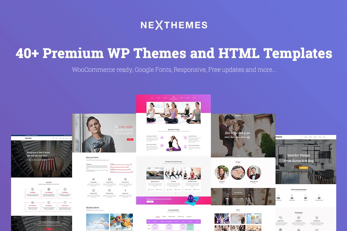 40+ Premium WordPress Themes & HTML Templates from NexThemes - only $39!