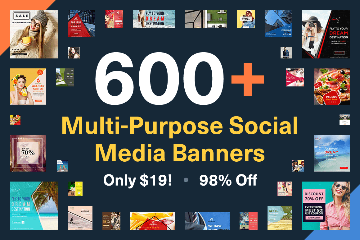 600+ Multi-Purpose Social Media Banners – only $19!