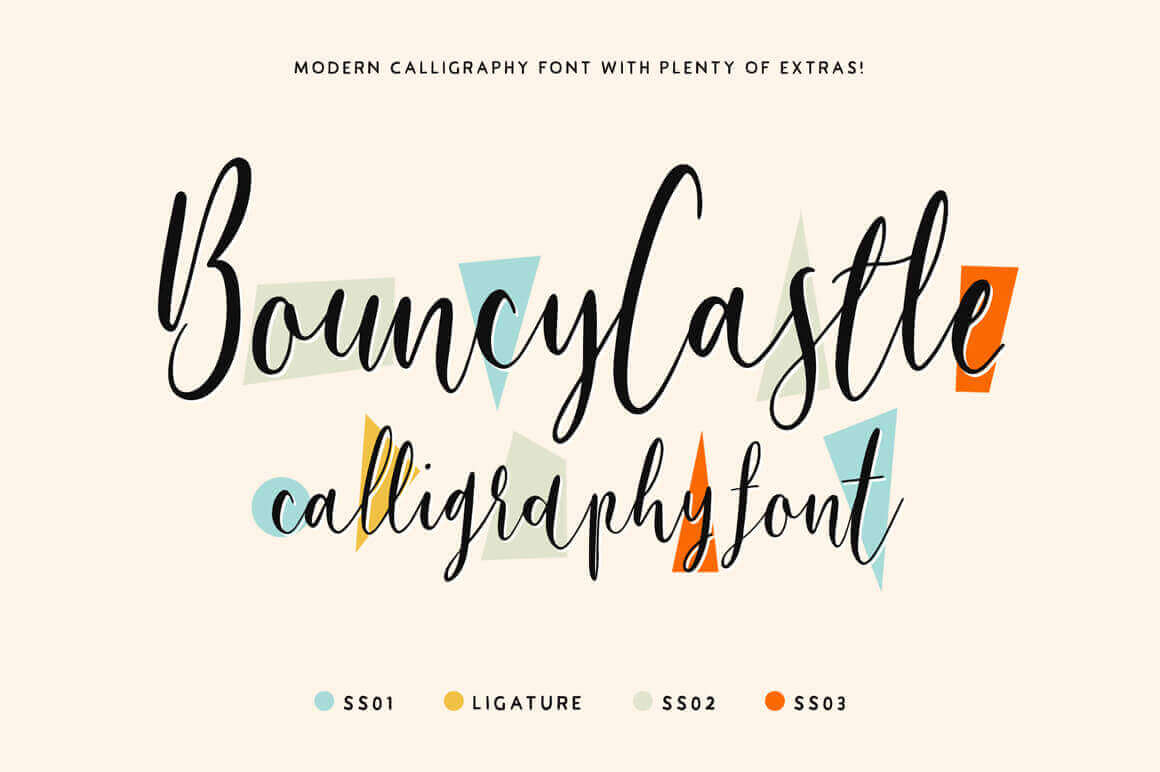 Bouncy Castle Modern Calligraphy Font Family – only $9!