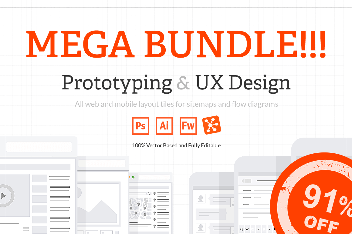 UX Web Tiles for Flow Diagrams and Sitemaps – only $15!