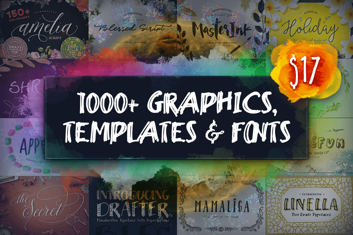 1,000+ Graphics, Templates & Fonts – only $17!