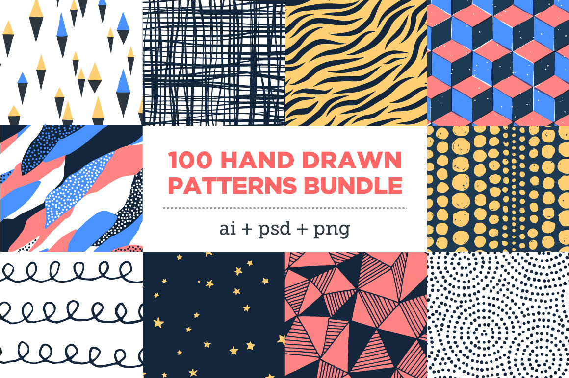 100 Colorful, Hand-Drawn Seamless Patterns – only $10!
