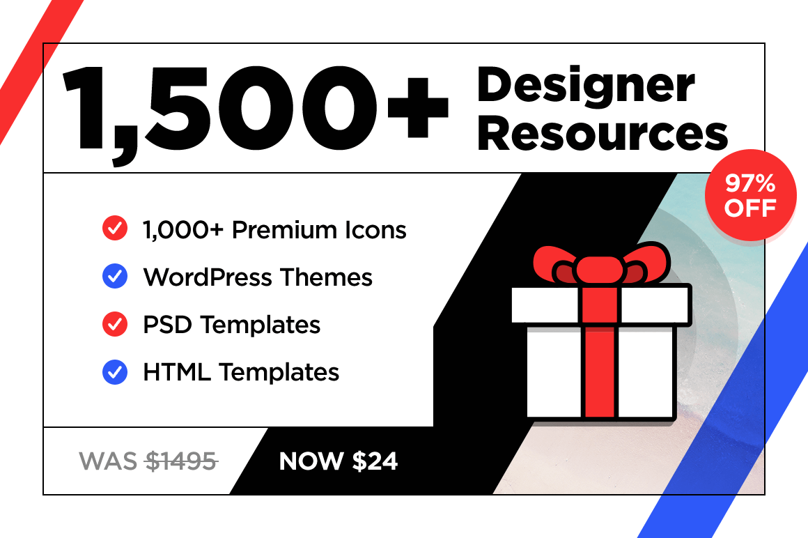 1,500+ Designer Resources: Premium Icons, Plus HTML, WordPress & PSD Templates – 98% off!