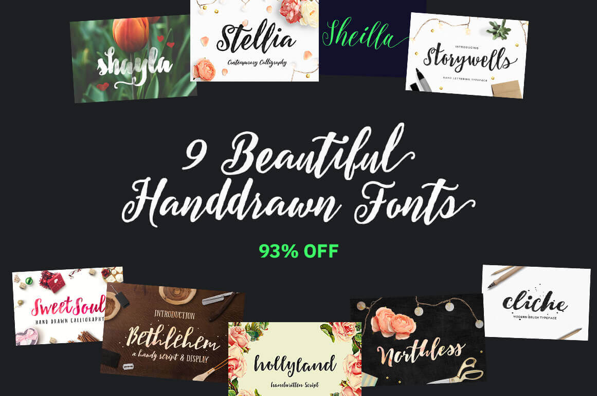 9 Beautiful Hand-Drawn Fonts – only $9!