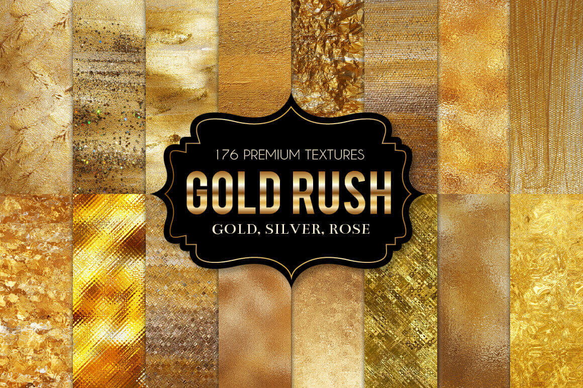 Gold Rush: 176 Hi-Res Gold, Silver and Rose Textures – only $10!