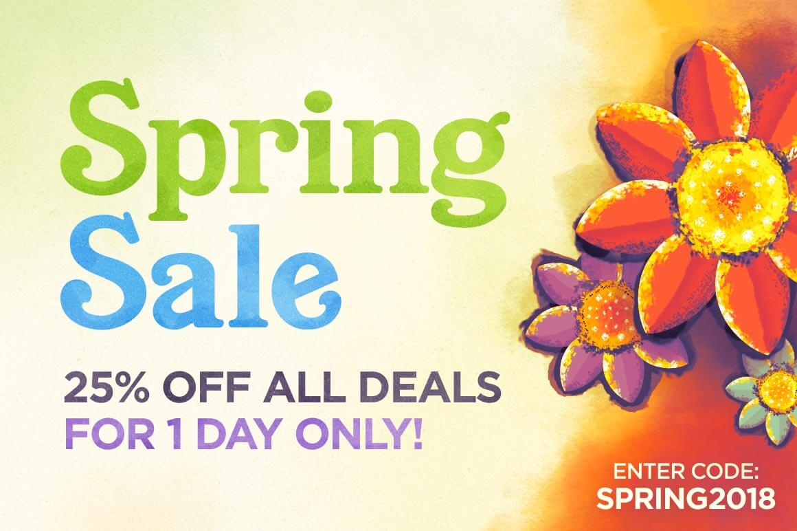 SPRING SALE – 25% off ALL DEALS1 Day Only!