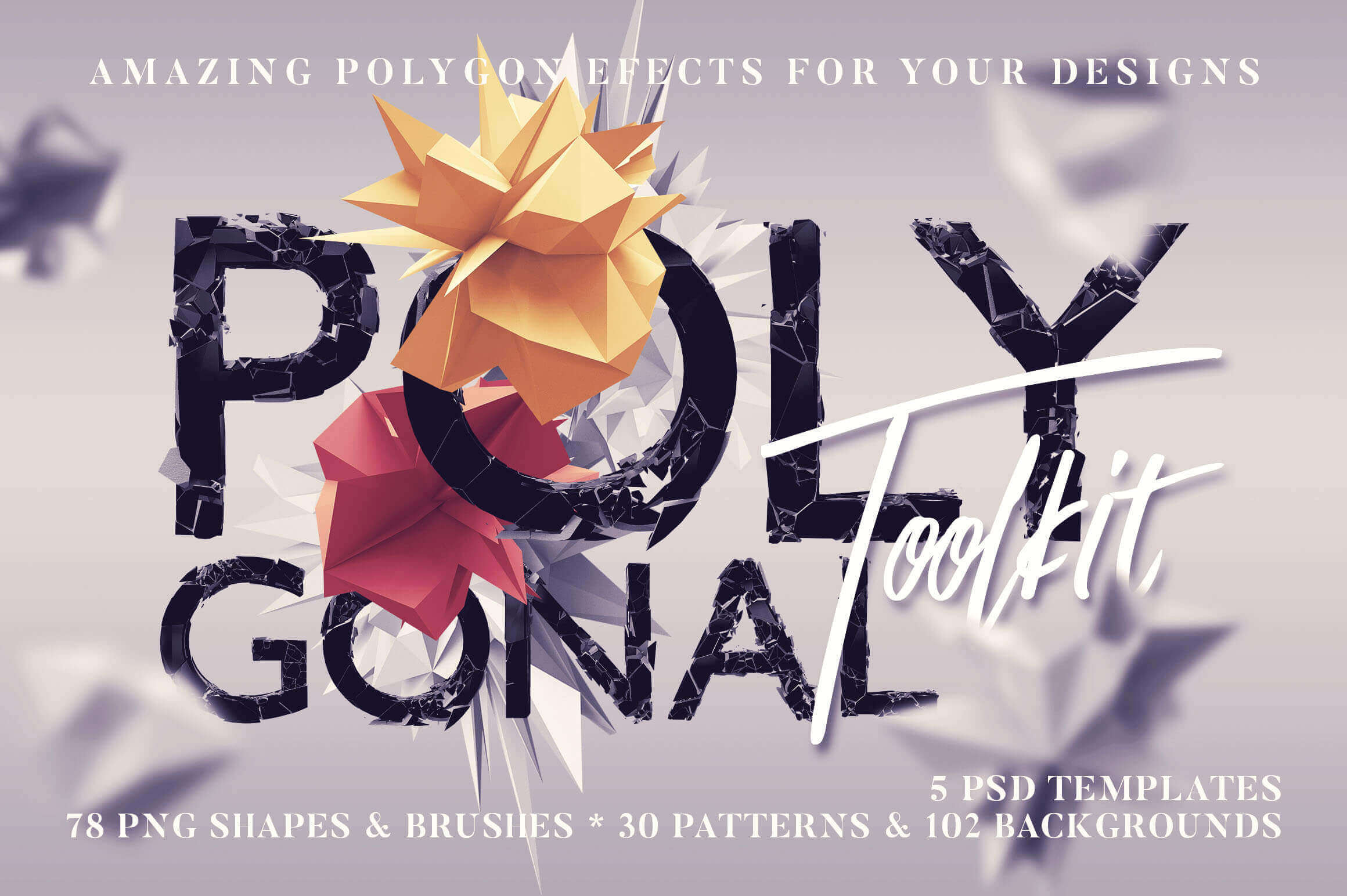 250+ Polygonal Shapes, Brushes, Backgrounds & Patterns – only $12!