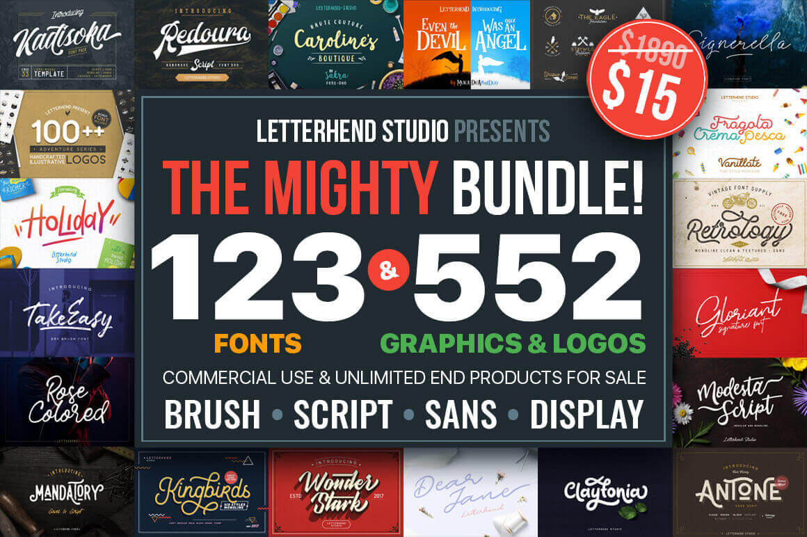 EXCLUSIVE: 123 Best-Selling Fonts & 552 Premium Graphics and Logos - only $15!