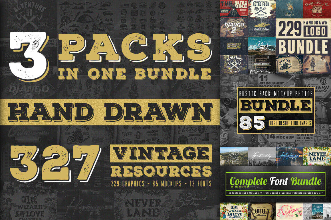 Vintage Rustic Bundle of 325+ Logos, Fonts and Photo Mockups – only $17!