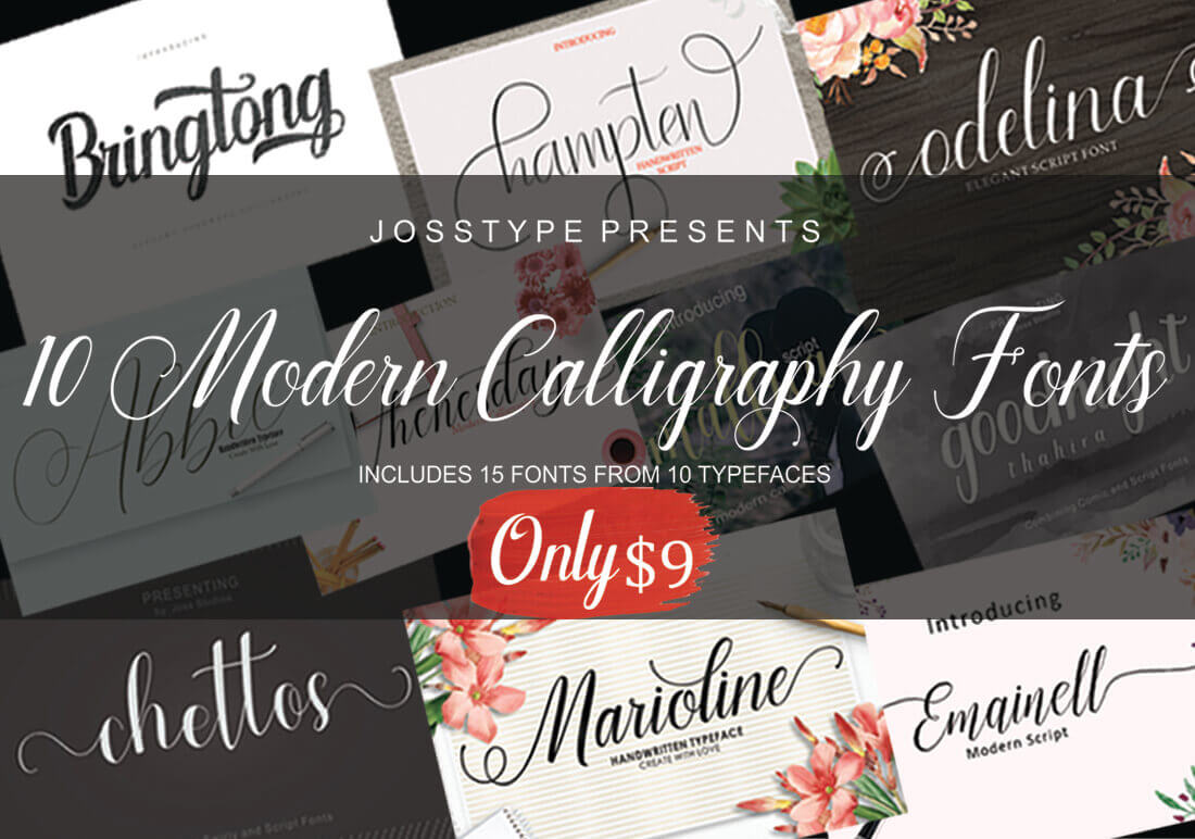 10 Elegant Modern Calligraphy Fonts – only $9!