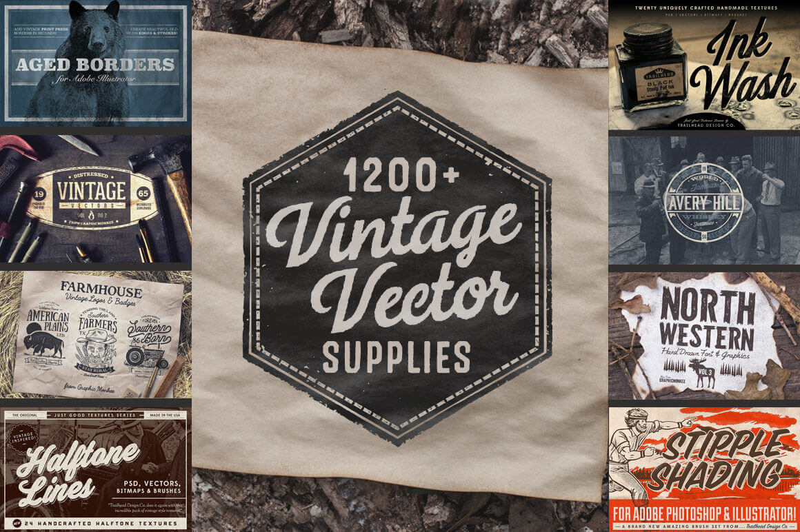 1200+ Design Elements in Massive Vintage Vector Bundle – only $17!