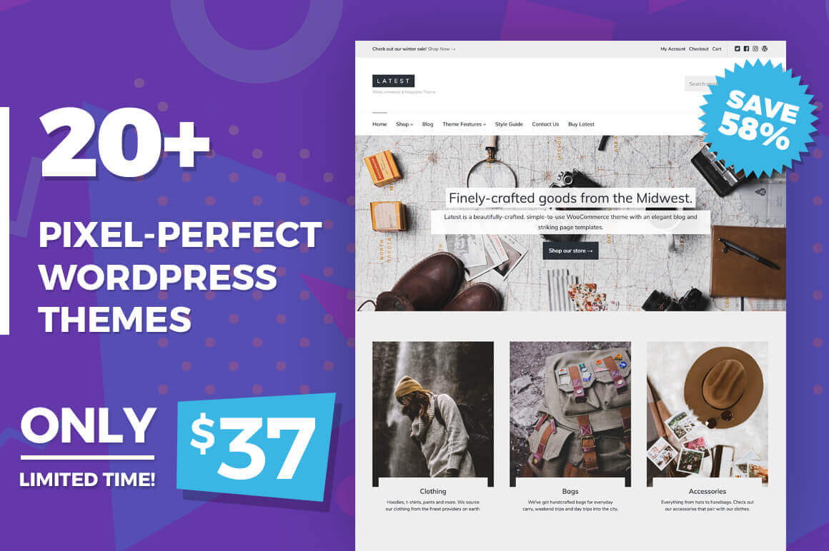 20+ Pixel-Perfect, Responsive WordPress Themes – only $37!
