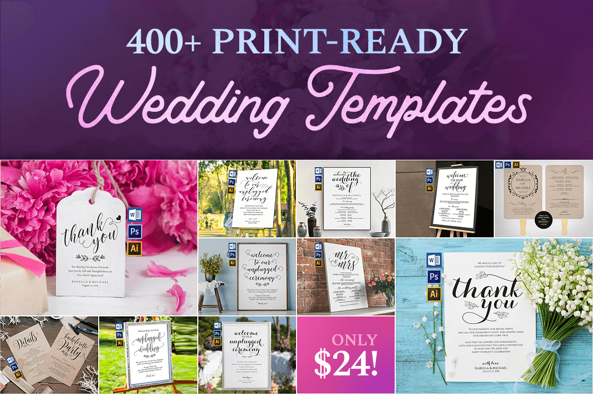 400+ Print-Ready Wedding Templates – only $24!
