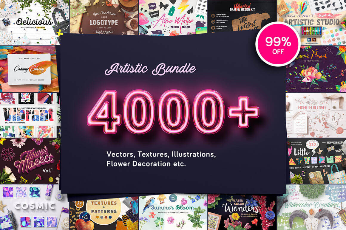 All-Stars Essential Artistic Bundle: 4000+ Vectors, Textures, Brushes & More – only $14!