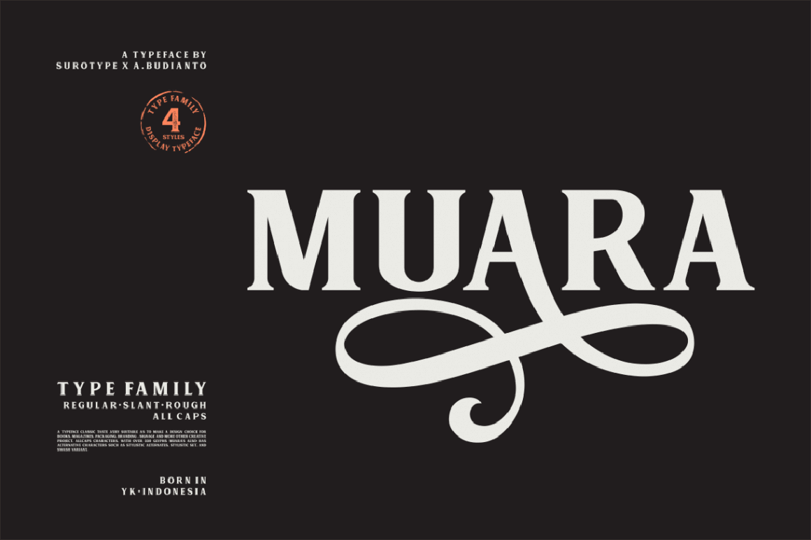 Classic, All-Caps Muara Font Family – only $9!