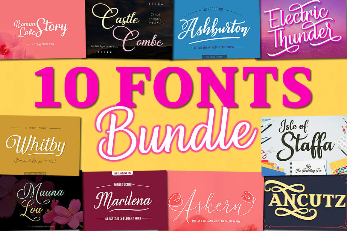 10 Professional Script Fonts – only $7!