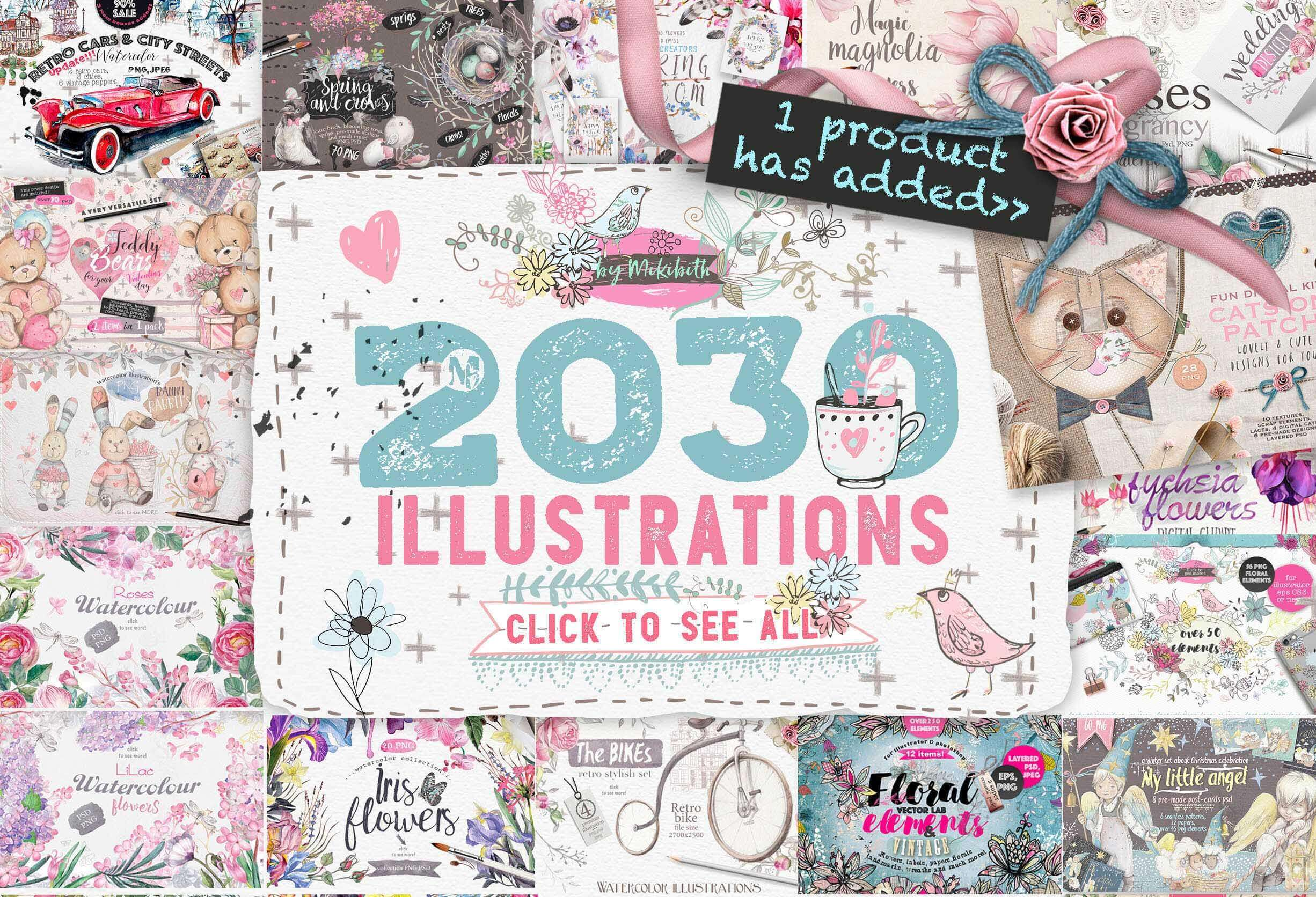 2030 Colorful, Professional Vectors, Patterns, Papers & More –  only $17!