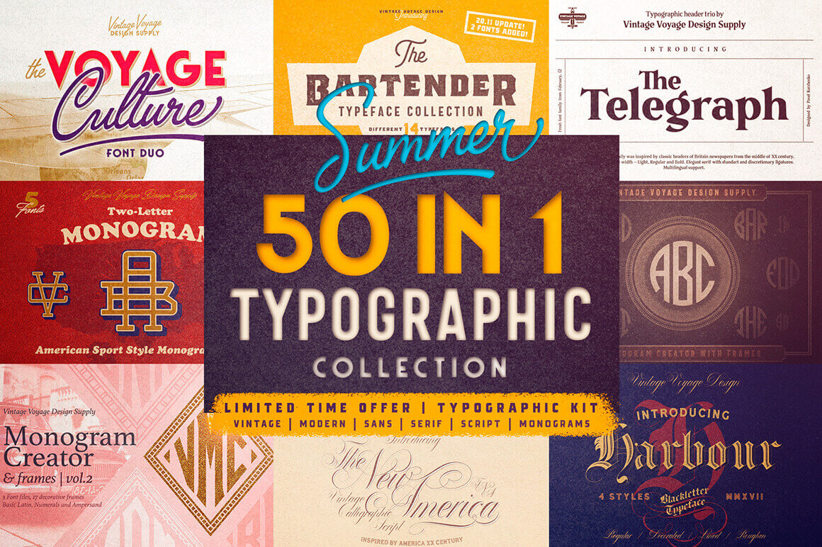 50 Fabulous Fonts from Vintage to Modern - only $10!