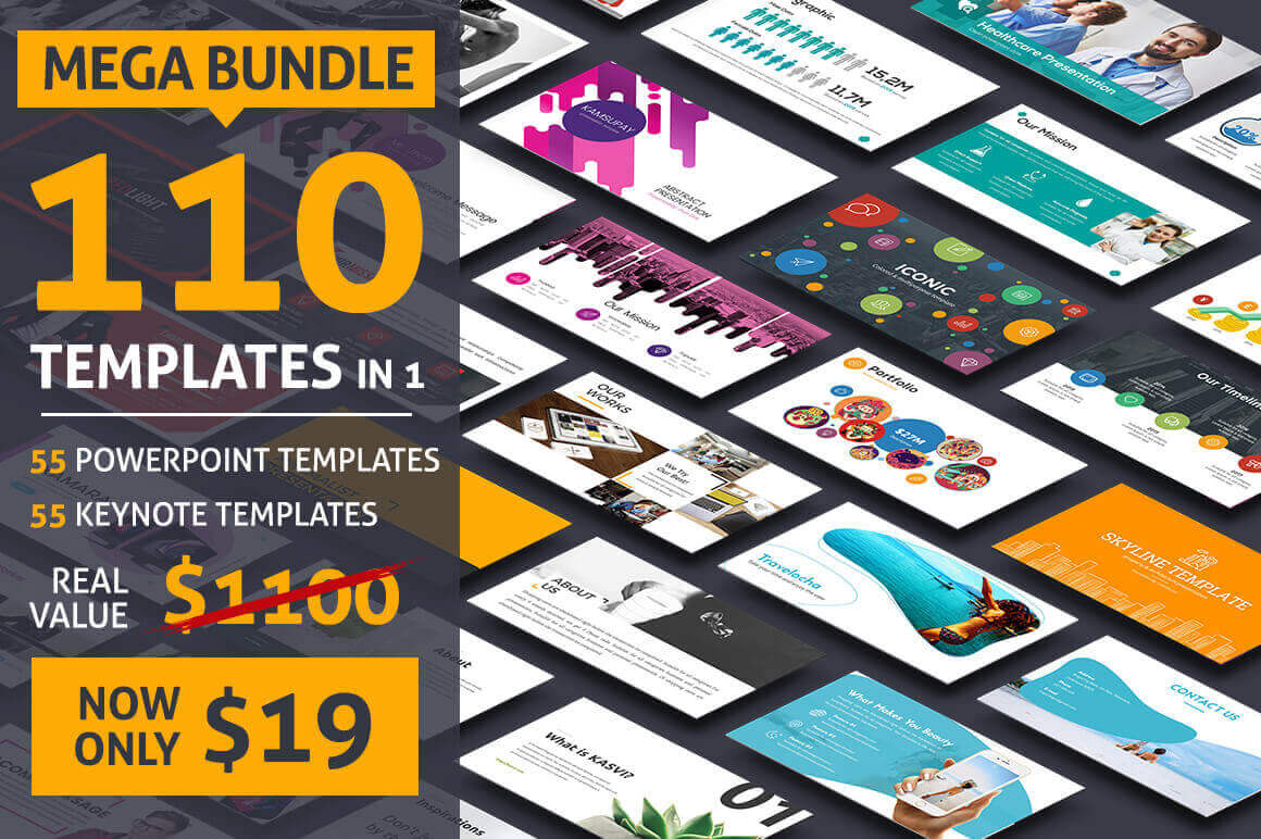 55 PowerPoint + 55 Keynote Templates (with 1000s of Infographics & Diagrams) – only $19!