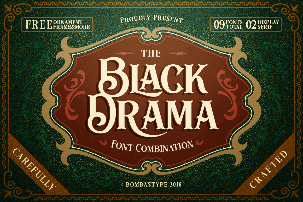 Black Drama Font Family of 9 Antique Retro Typefaces - only $9!