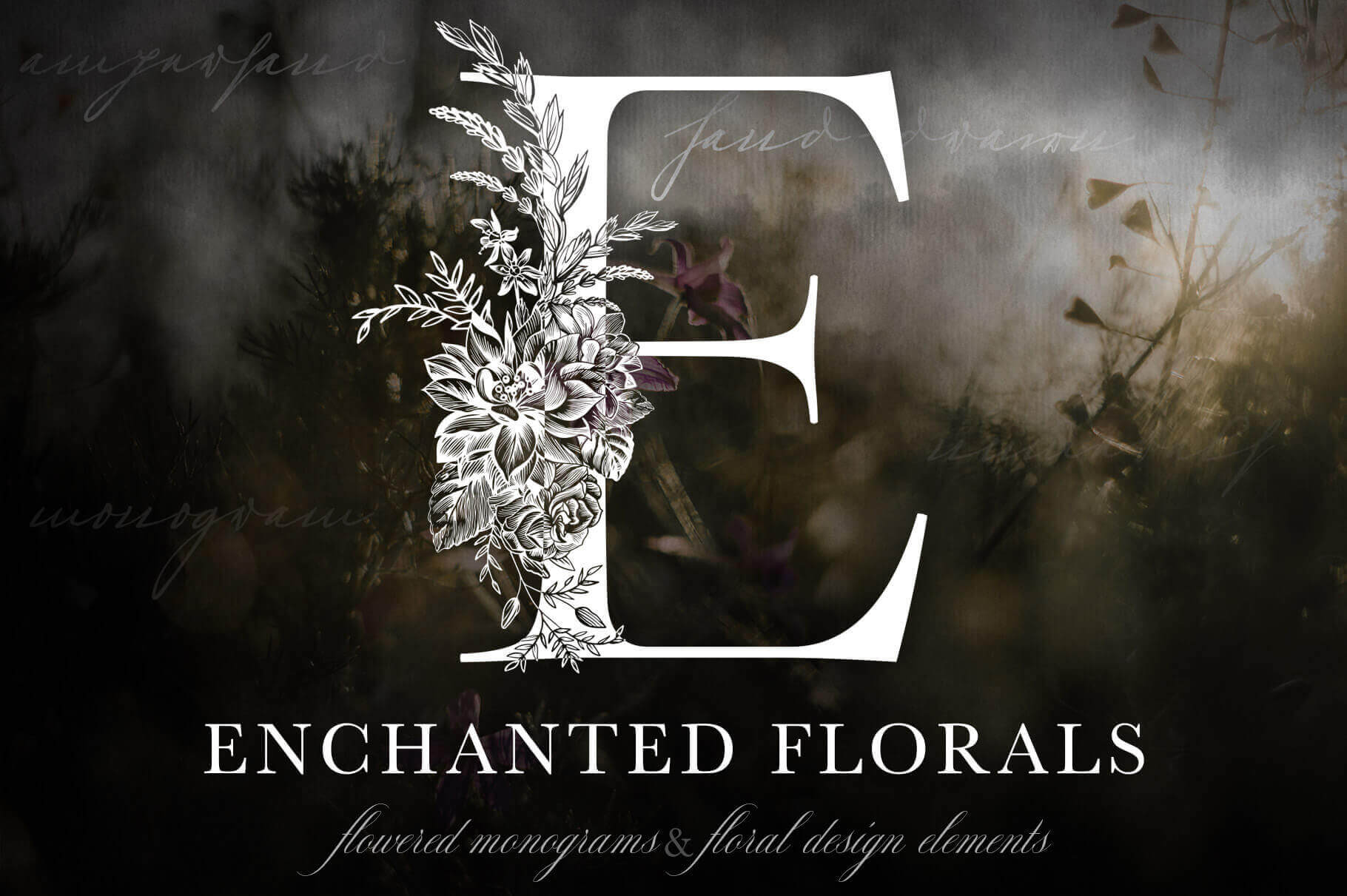 Gorgeous Enchanted Floral Monogram Set – only $9!