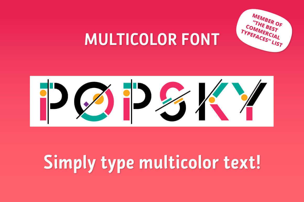 Popsky: A Vivid Bestseller Multicolor Font – only $7!