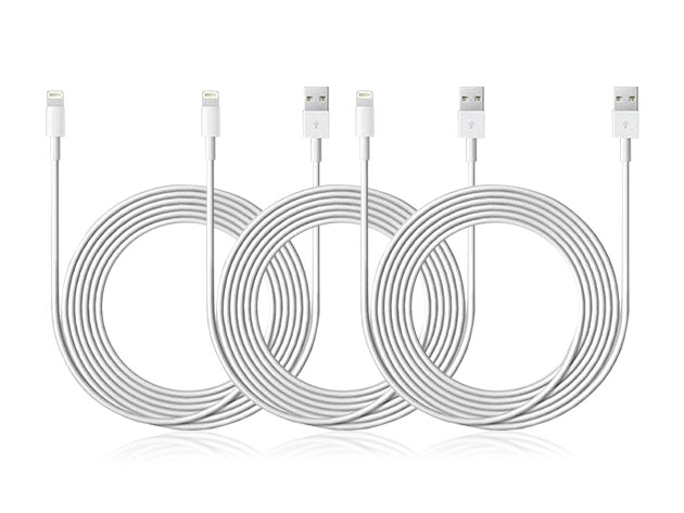 10-Ft MFi-Certified Lightning Cable: 3-Pack for $16
