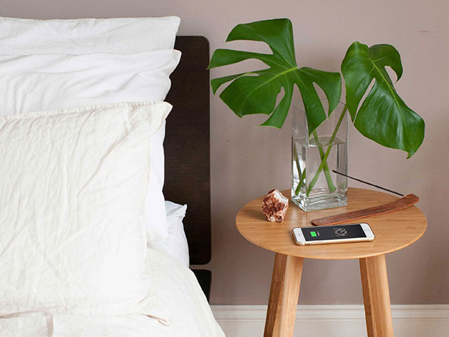FurniQi Bamboo Wireless Charging Side Table for $149
