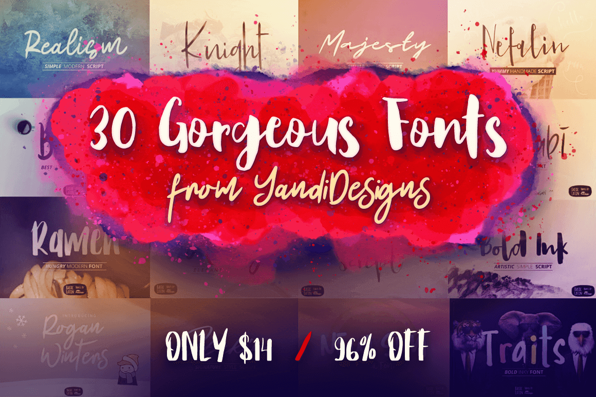 30 Gorgeous Fonts from YandiDesigns – only $14!
