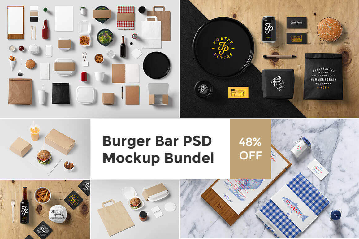 Burger Bar Photorealistic Mockup Bundle with 50 Food-Centric Items – only $15!
