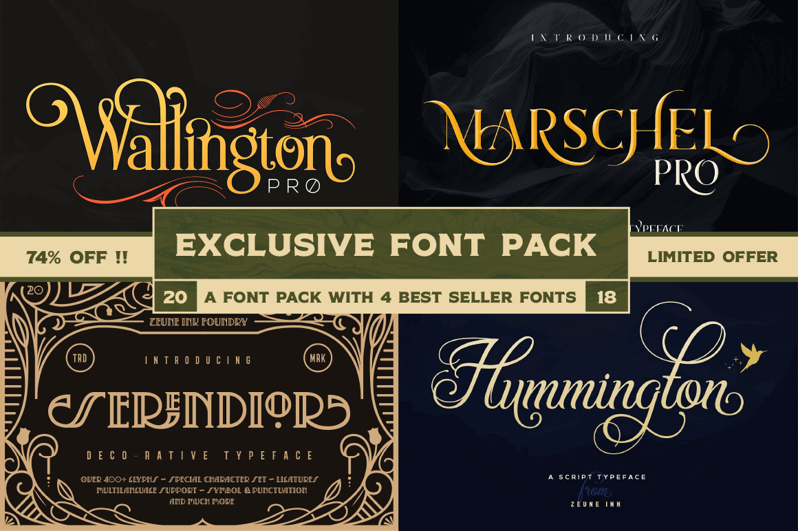 Exclusive! 4 High-Quality Fonts from Zeune Ink Foundry - only $9!
